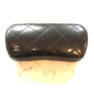 Authentic CHANEL black quilted glasses case